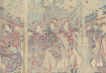 Flower Viewing in the Pleasure District by Chikanobu (1838 - 1912)