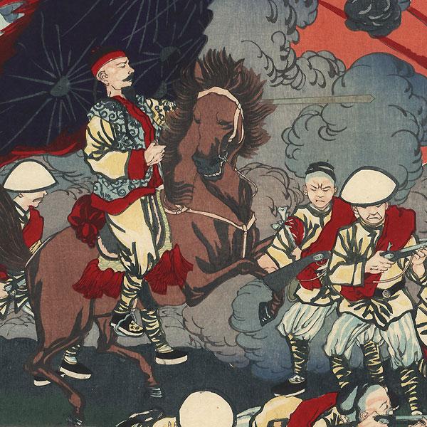 Sino-Japanese War Battle Scene by Meiji era artist (unsigned)