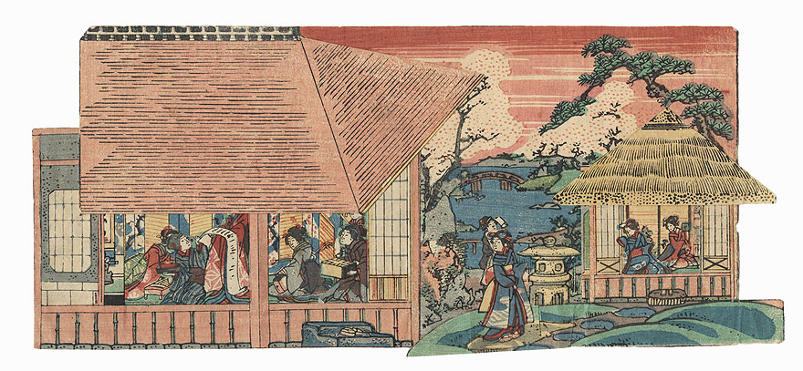 Beauties in a Country House Paper Model by Edo era artist (not read)