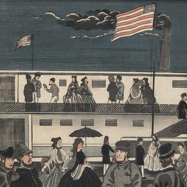 American Steam Train in Motion, 1861 by Yoshikazu (active circa 1850 - 1870)