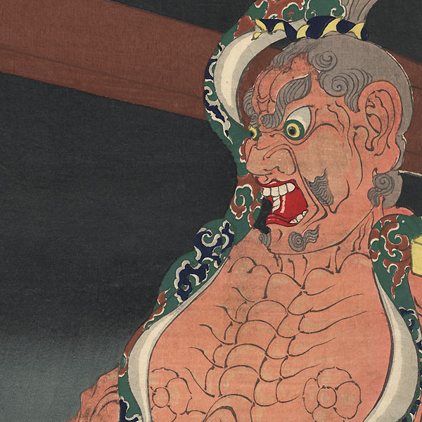 Rochishin Topples the Temple Gate Guardian in a Drunken Rage, 1887 by Yoshitoshi (1839 - 1892)