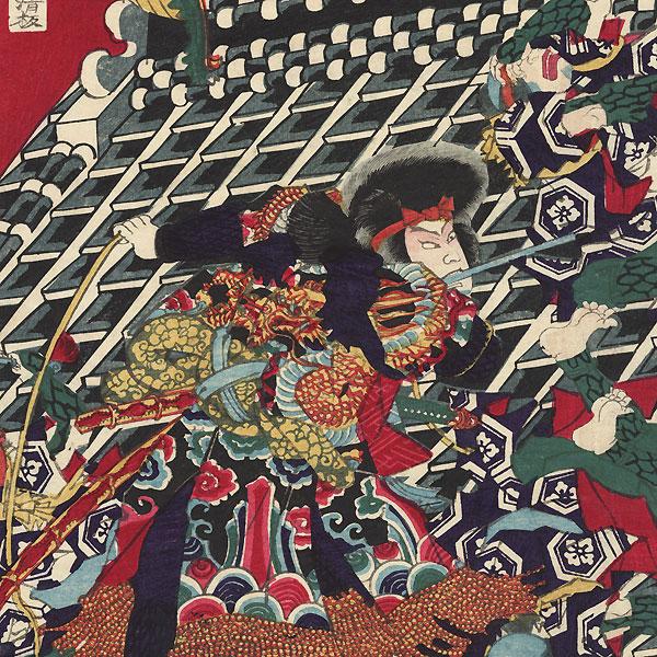Battle atop the Horyukaku Rooftop by Yoshitora (active circa 1840 - 1880)