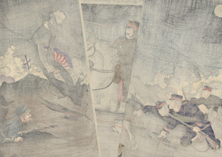 Illustration of Our Forces in Battle during an Attack on Enemies by the Yalu River, 1904 by Nitei (active 1904)
