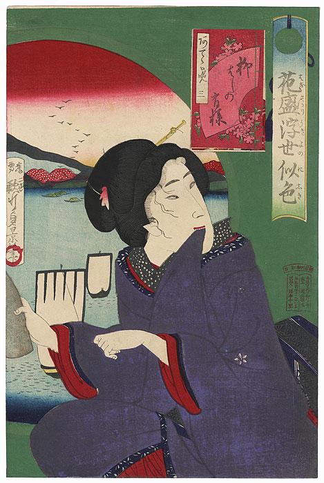 Beauty Next to a Round Window, 1881 by Sadakage II (active circa 1850 - 1881)