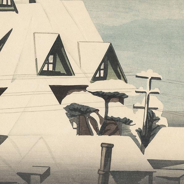 Snowy Rooftops by Yamamura Toyonari (Koka) (1885 - 1942)
