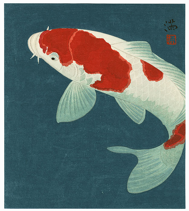 Fuji arts japanese prints koi by contemporary artist for Japanese fish decoration