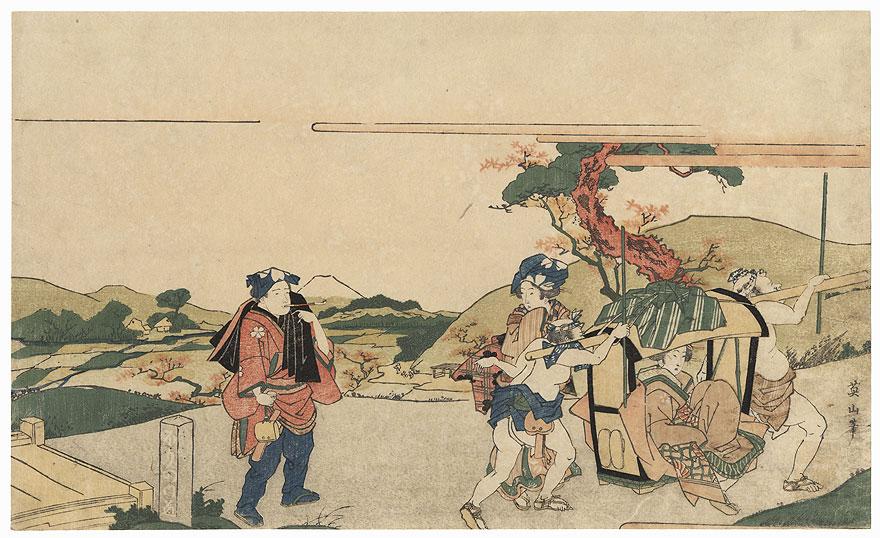 Travelers Taking a Break by Eizan (1787 - 1867)