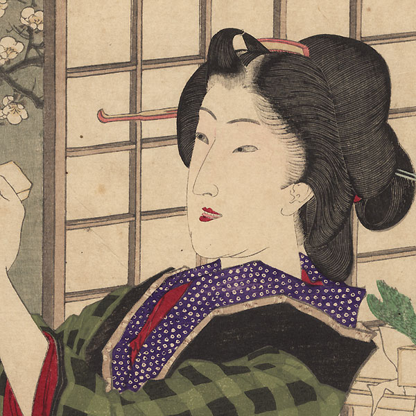 7 p.m. - Evening Geisha with Plum Blossoms  by Yoshitoshi (1839 - 1892)