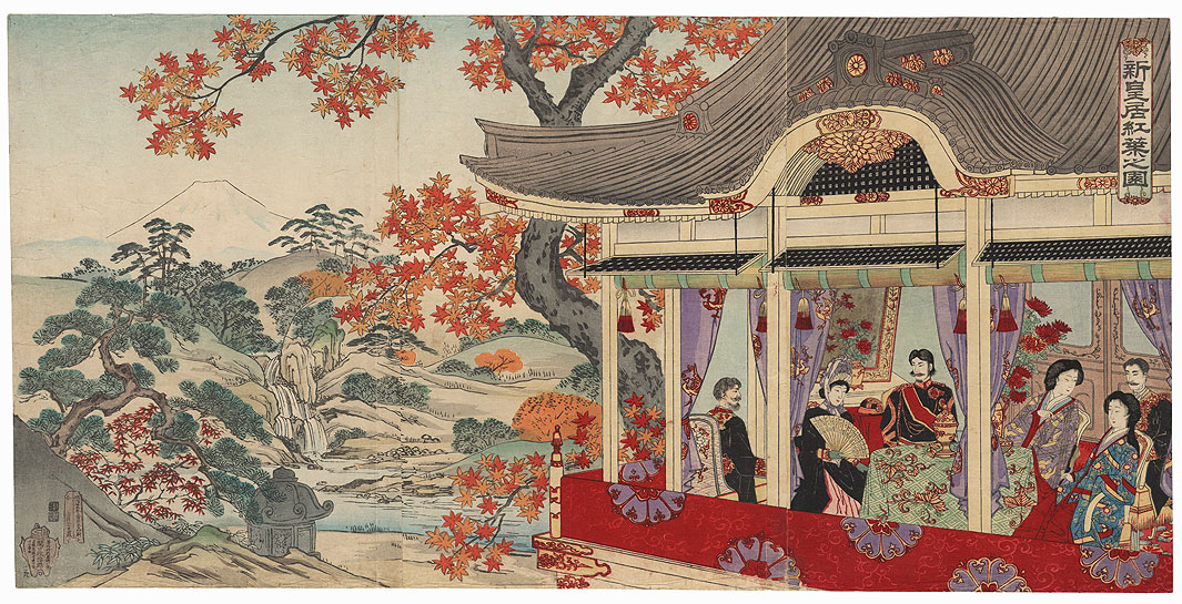 Illustration of the Maple Leaves at the New Palace, 1888 by Meiji era artist (unsigned)