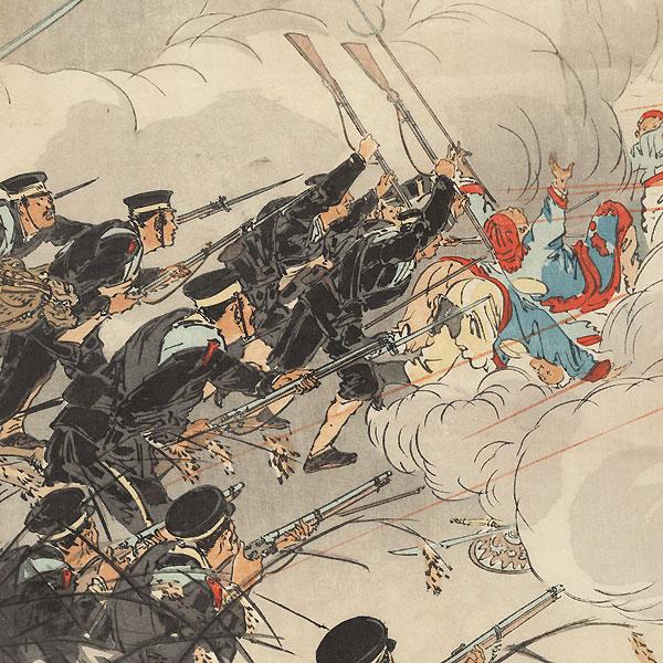 Sino-Japanese War: Pursuing the Retreating Enemy at Jinzhoucheng, 1894 by Gekko (1859 - 1920)
