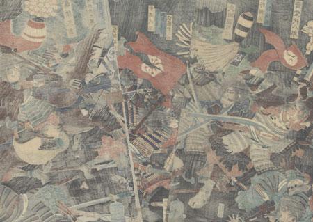 The Great Battle of Yamazaki, 1865 by Yoshitoshi (1839 - 1892)