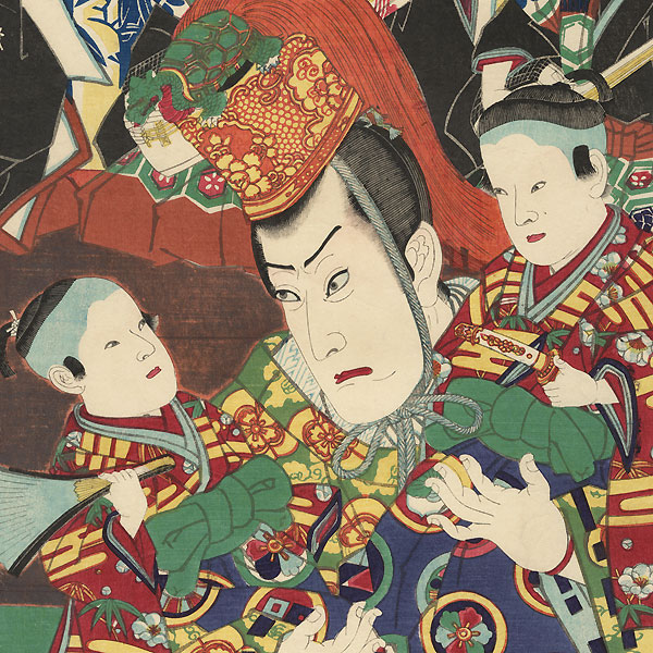 Nobleman Carrying Two Young Boys by Kunichika (1835 - 1900)