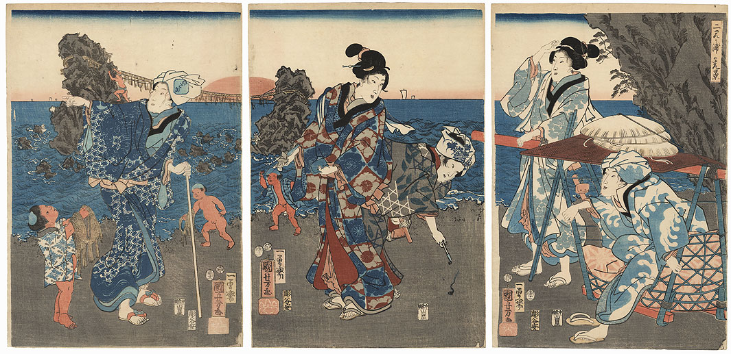 An Outing at the Wedded Rocks at Futami, 1854 by Kuniyoshi (1797 - 1861)