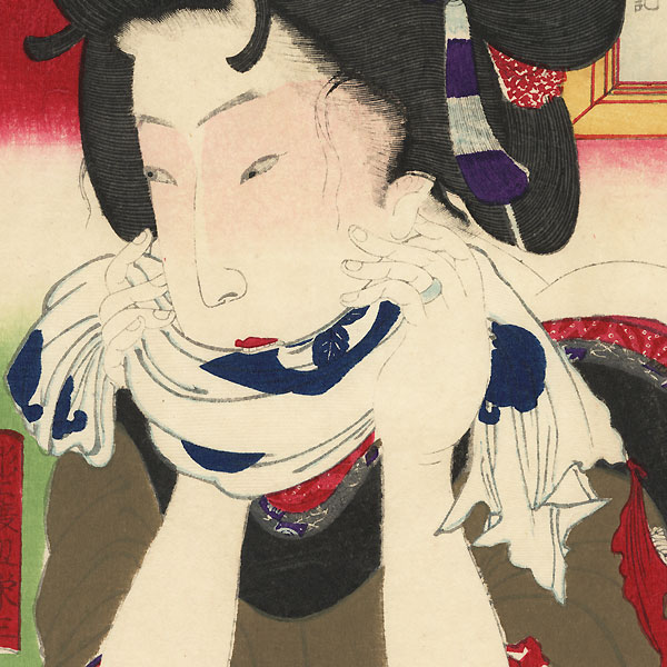 Burning Moxa by Kunichika (1835 - 1900)