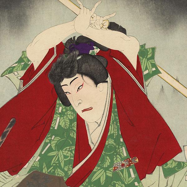 Ushiwakamaru Battling Tengu at Kurama, 1883 by Kunichika (1835 - 1900)