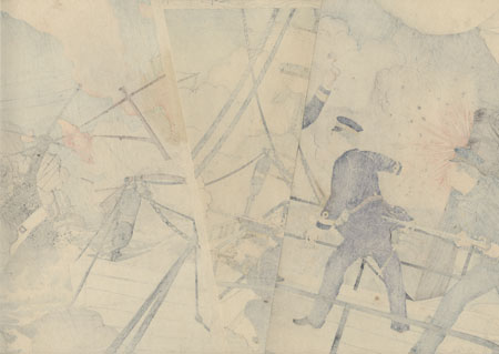 Kabayama, the Head of the Naval Commanding Staff, onboard Seikyomaru, Attacks Enemy Ships, 1894 by Ginko (active 1874 - 1897)
