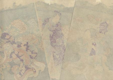 Prince Genji Dressed in the Purple of Edo: The Peony Garden, 1866 by Yoshitoshi (1839 - 1892)