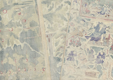 Capturing a Fugitive Paper Model Set  by Kunisada III (1848 - 1920)