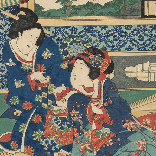 Prince Genji and Beauties on a Spring Day by Kunichika (1835 - 1900)