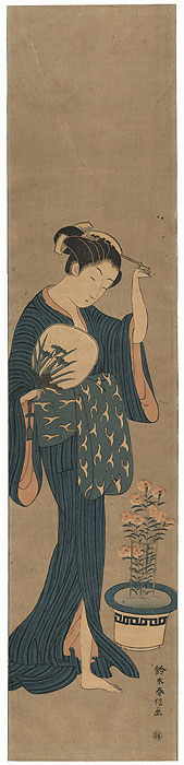 Courtesan and Flowering Pink Pillar Print by Harunobu (1724 - 1770)