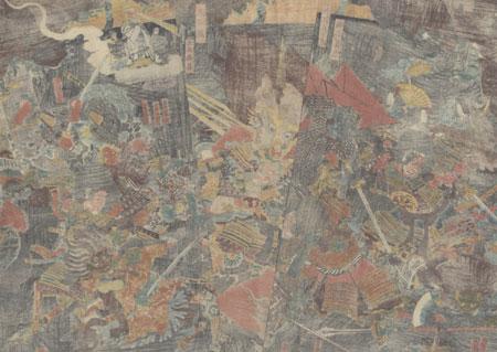 Raiko Slaying the Demon Shuten-doji at Oeyama, 1849 - 1852 by Kunimasa II (1792 - 1857)