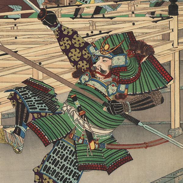 Duel between Mori Ranmaru and Akechi Mitsuhide, 1894 by Nobukazu (1874 - 1944)