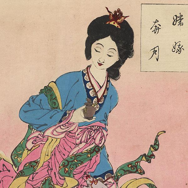 Chang E Flees to the Moon  by Yoshitoshi (1839 - 1892)