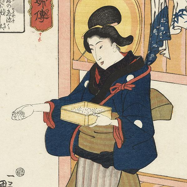 The Maid Take-jo by Kuniyoshi (1797 - 1861)