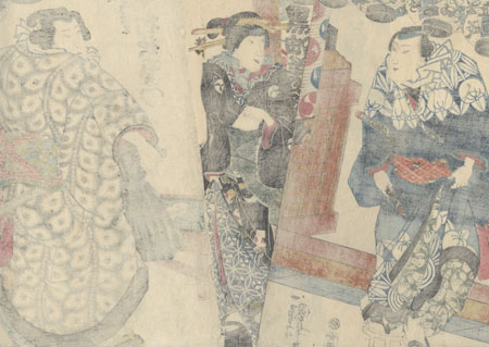 Street Knight and Sumo Wrestler Meeting at a Tea Stand, 1840 by Kuniyoshi (1797 - 1861)