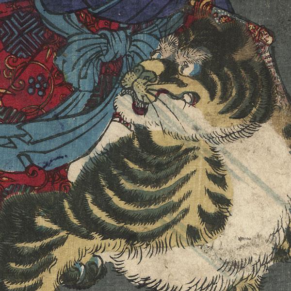 Toraomaru Riding a Tiger, 1866  by Yoshitoshi (1839 - 1892)