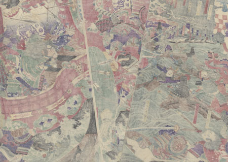 Yoshitsune Leaps over Eight Boats at Dan-no-ura during the Battle of Yashima, 1865 by Yoshitoshi (1839 - 1892)