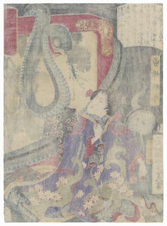 Yufu Tsunade Threatened by a Snake, 1866 by Yoshitoshi (1839 - 1892)