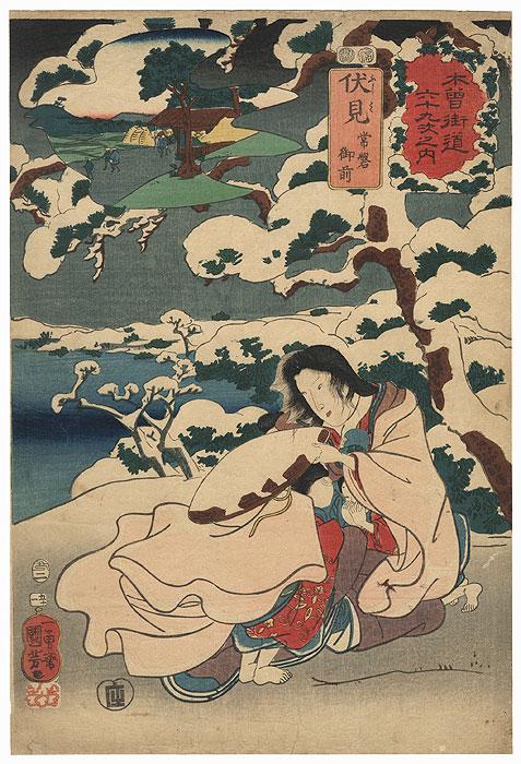 Fushimi: Tokiwa Gozen, 1853 by Kuniyoshi (1797 - 1861)