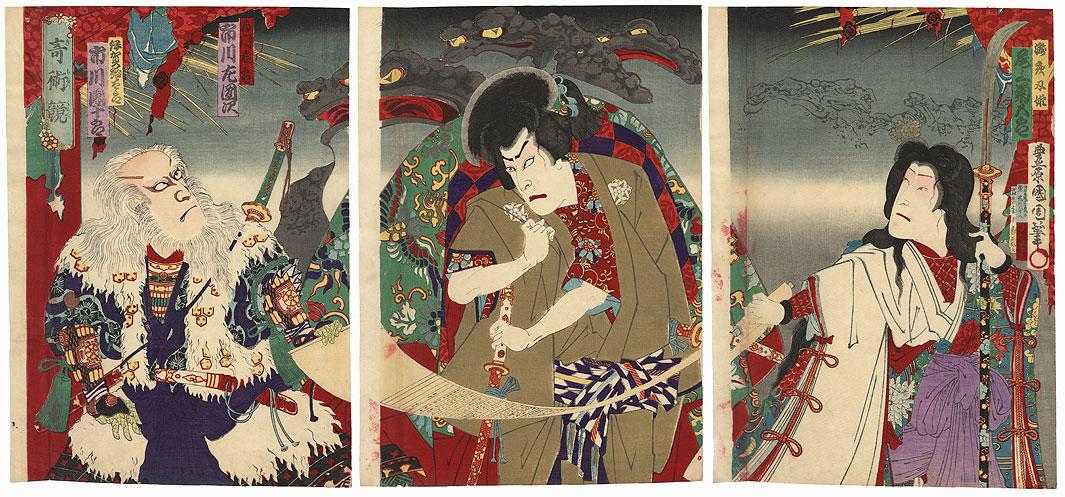 Practicing Toad Magic, 1884 by Kunichika (1835 - 1900)