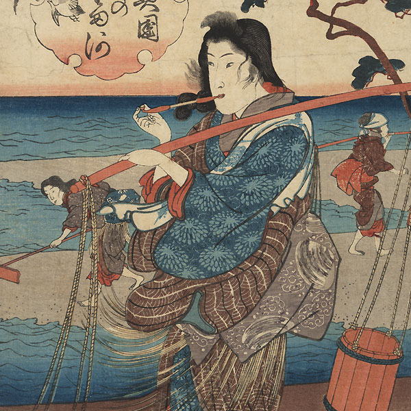 The Plover Jewel River in Mutsu Province, 1847 - 1848 by Kuniyoshi (1797 - 1861)