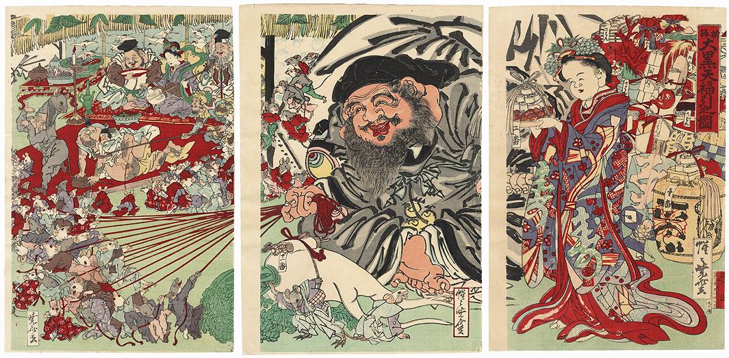Daikoku Drawing a Lottery, 1876 by Kyosai (1831 - 1889)