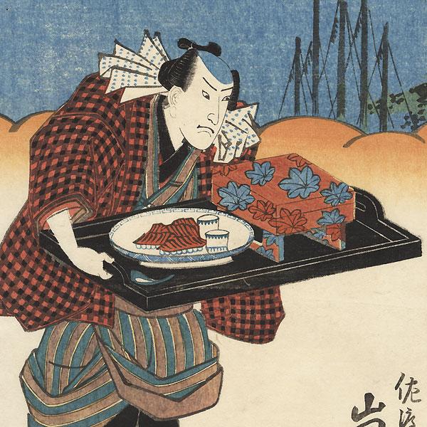 Angry Servant and Couple by Toyokuni III/Kunisada (1786 - 1864)