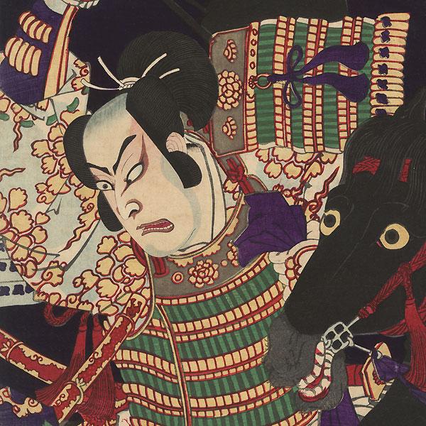 Kumagai and Atsumori at the Battle of Ichi-no-Tani, 1881 by Chikashige (active circa 1869 - 1882)