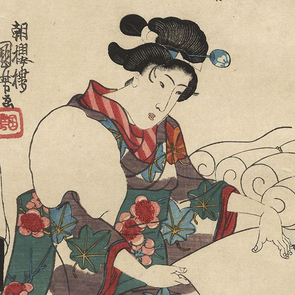 Shaping Cotton, circa 1843 by Kuniyoshi (1797 - 1861)