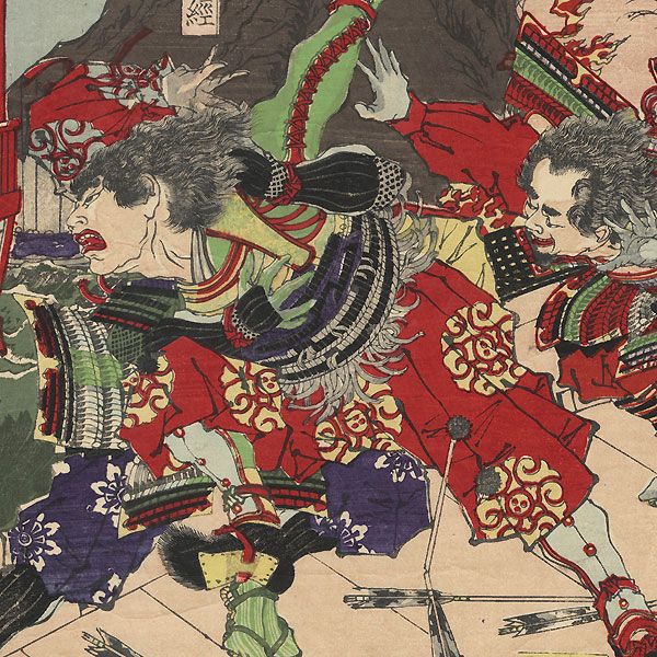 The Great Battle between the Genji and Heike at Yashima, 1881 by Yoshitoshi (1839 - 1892)