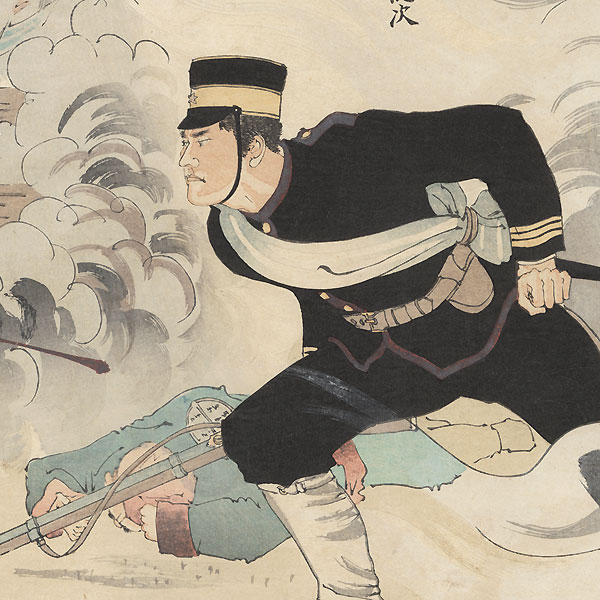 Attack at Kinju Castle, 1895 by Ginko (active 1874 - 1897)