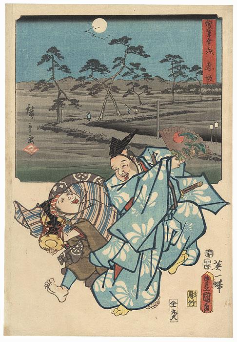 Akasaka: Manzai Dancers by Hanabusa Itcho, 1855  by Hiroshige (1797 - 1858) and Toyokuni III/Kunisada (1786 - 1864)