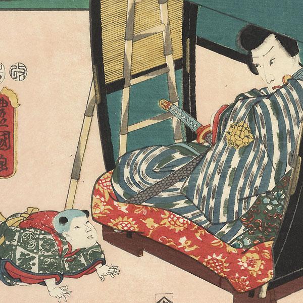 Shirasuga: Panoramic View of Shiomizaka; Ichikawa Danjuro VIII as Jiraiya, 1855  by Hiroshige (1797 - 1858) and Toyokuni III/Kunisada (1786 - 1864)
