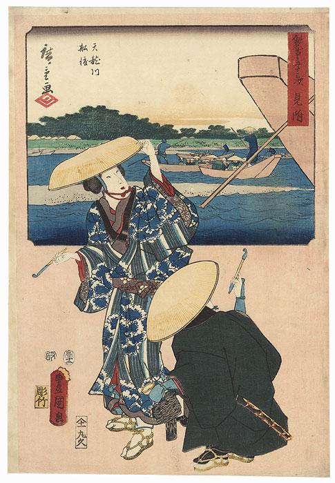 Mitsuke: The Ferry on the Tensyn River, 1854  by Hiroshige (1797 - 1858) and Toyokuni III/Kunisada (1786 - 1864)