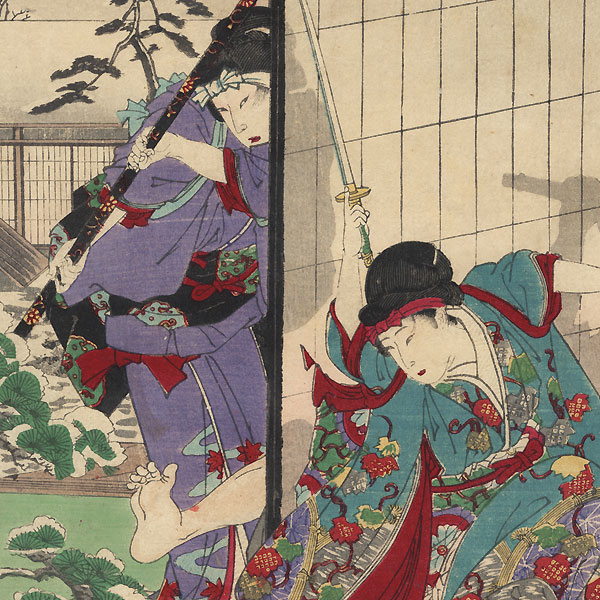 Edo, Snow at Honjo, Matsumura's Wife, Hakayawa Toemon's Daughter, and Motojima Kazuzaemon, No. 47 by Chikanobu (1838 - 1912)