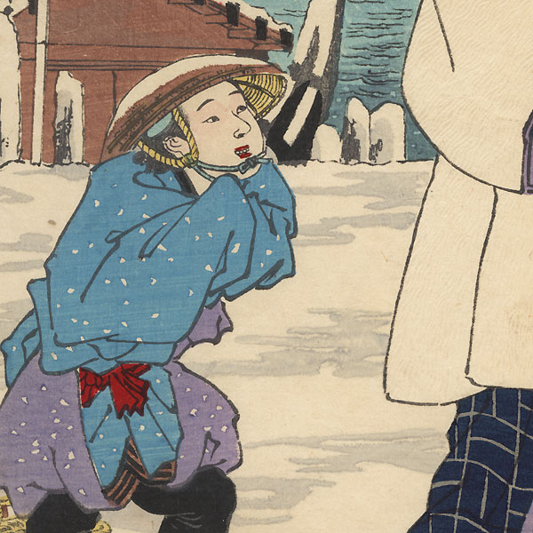 Edo, Snow at Yanagi Bridge, Nezumi Kozo as Takasaki Beian and the Clam Seller Sankichi, No. 26 by Chikanobu (1838 - 1912)