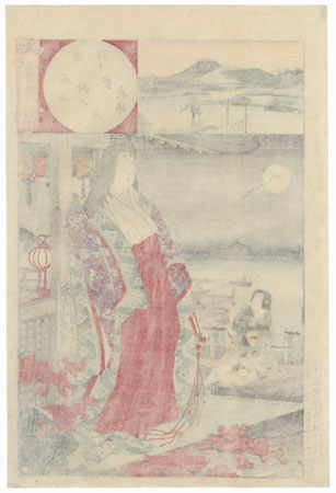 Omi, Autumn Moon over Ishiyama, Murasaki Shikibu, No. 1 by Chikanobu (1838 - 1912)