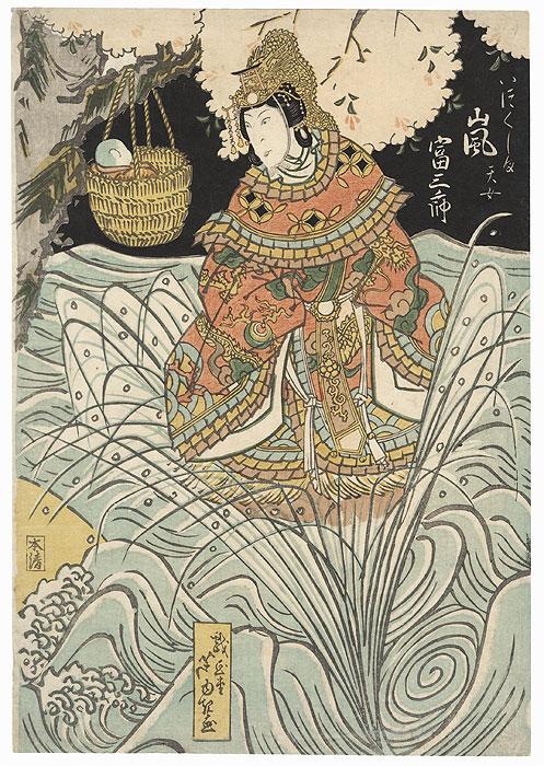 Arashi Tomisaburo II as the Heavenly Woman of Itsukushima, 1828 by Ashiyuki (active circa 1813 - 1831)