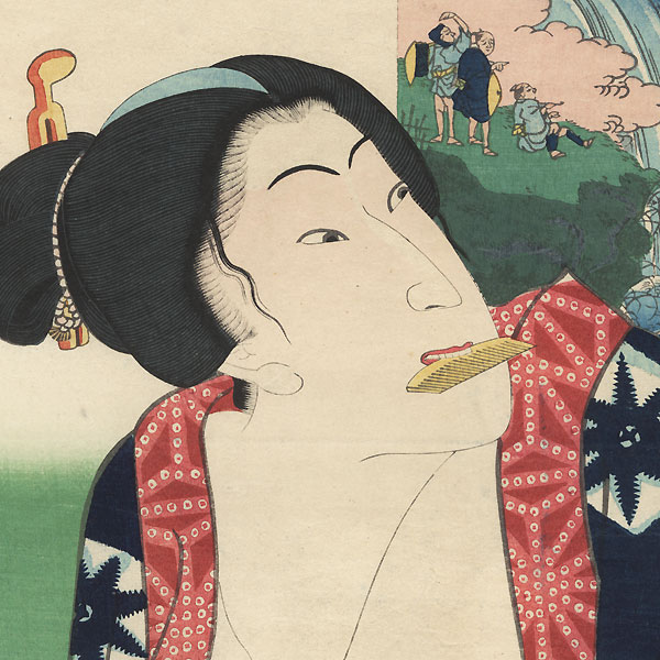 View of a Waterfall; Sawamura Tanosuke as a Beauty by Toyokuni III/Kunisada (1786 - 1864)