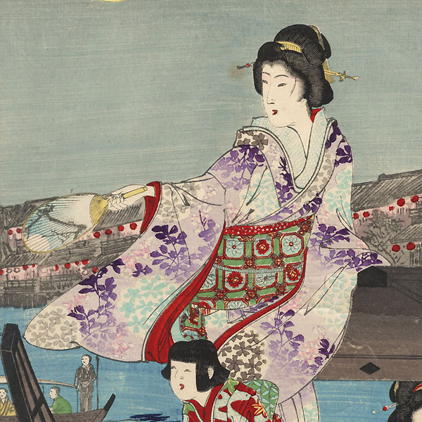 Fireworks at Ryogoku to Sankyoku Music by Nobukazu (1874 - 1944)